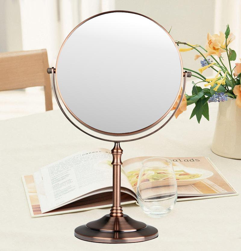 Red bronze Bathroom 1X 3X Magnification HD glass Two-Sided Swivel Mirror 8-Inch Desktop cosmetic mirror,360 degree rotation