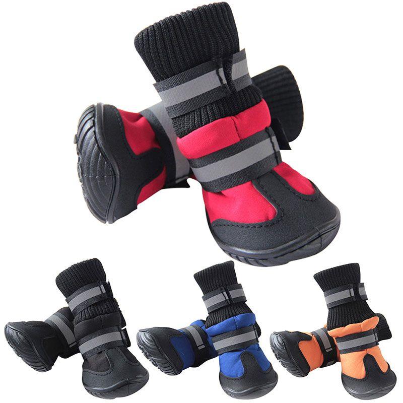 4PCS / 설정 겨울 애완 동물 개 신발 치와와 애완 동물 제품에 대한 방수 작은 큰 개 부츠면 비 슬립 XS XL