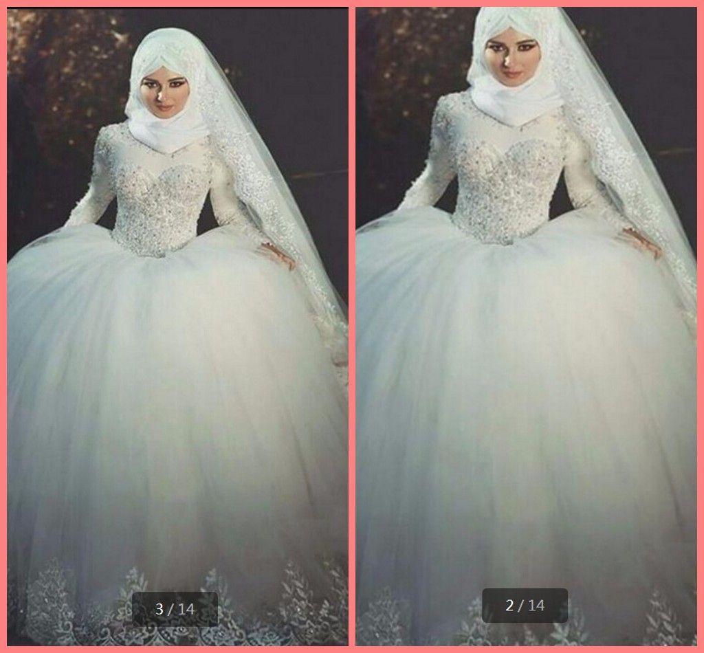 Vestido De Festa 2019 lace ball gown muslim women Hijab Muslim wedding dresses high neckline long sleeve modest bride gowns hot sale