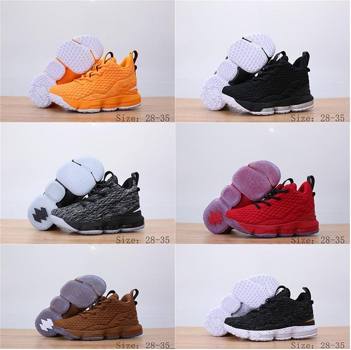 رخيصة ليبرون 15 15S أحذية كرة السلة صبي فتاة هدية جيمس 15 أورانج بوكس اطفال اطفال الأمومة الطفل أول حمالات الحجم 11C-3Y