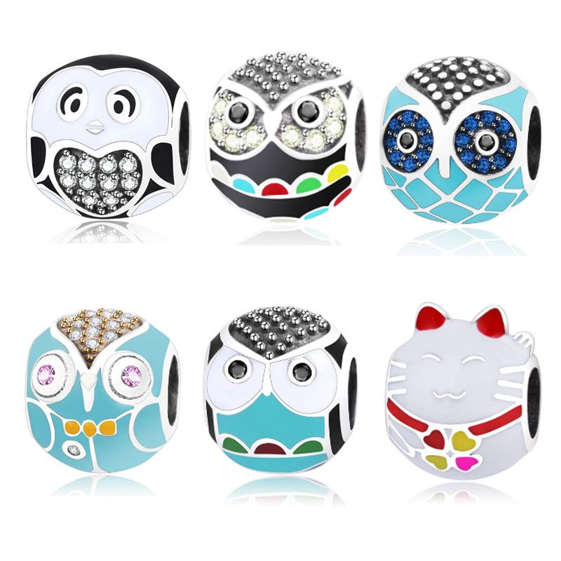 100% 925 Sterling Silver Lovely Animal colored owl Charm Beads fit Women DIY Jewelry Wholesale Bulk Bracelet bead caps making