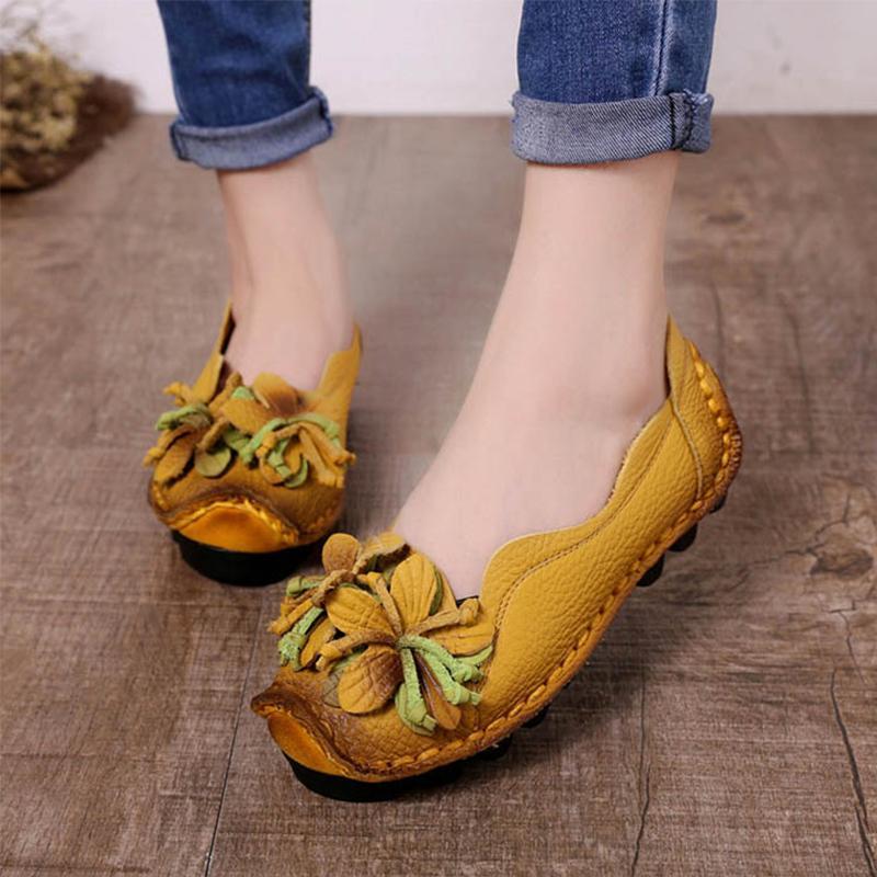 2019 beiläufige Frauen-Schuh-echtes Leder-Damen-Schuhe Blume Loafers Zapatos De Mujer Talon Femme