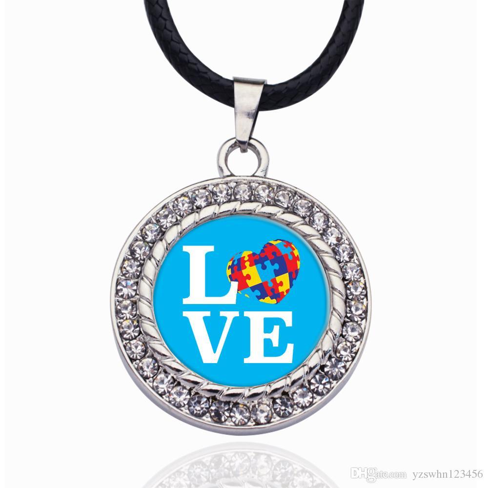 Regalo del partido de la boda del collar colgante amor del autismo CONCIENCIA encanto del círculo de cristal para las mujeres