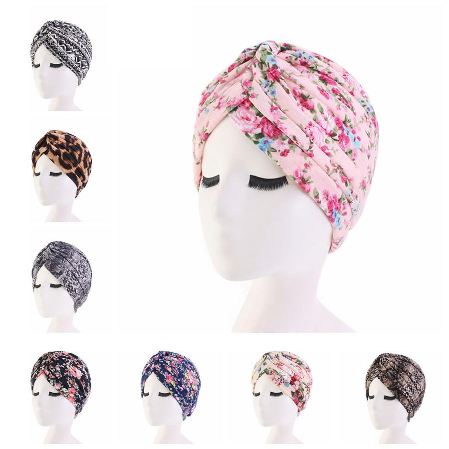 Moda Mulheres Floral Imprimir Turban Cotton Flower Hat Bandana Scarf Cancer Chemo Gorros Headwrap Caps acessórios sono Cap Cabelo TTA1786