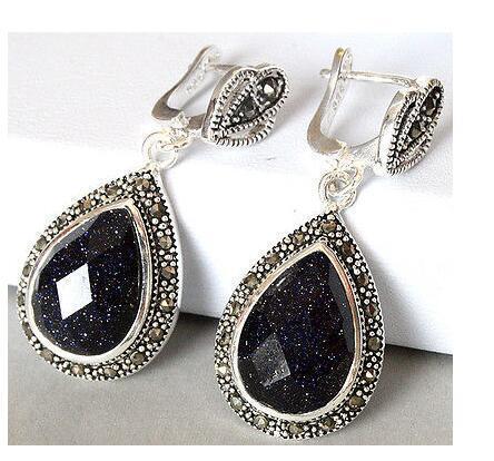 dame 925 blanc noir Argent naturel pierre de sable marcasite Boucles d'oreilles bijoux de mariage percé boucle d'oreille de l'oreille