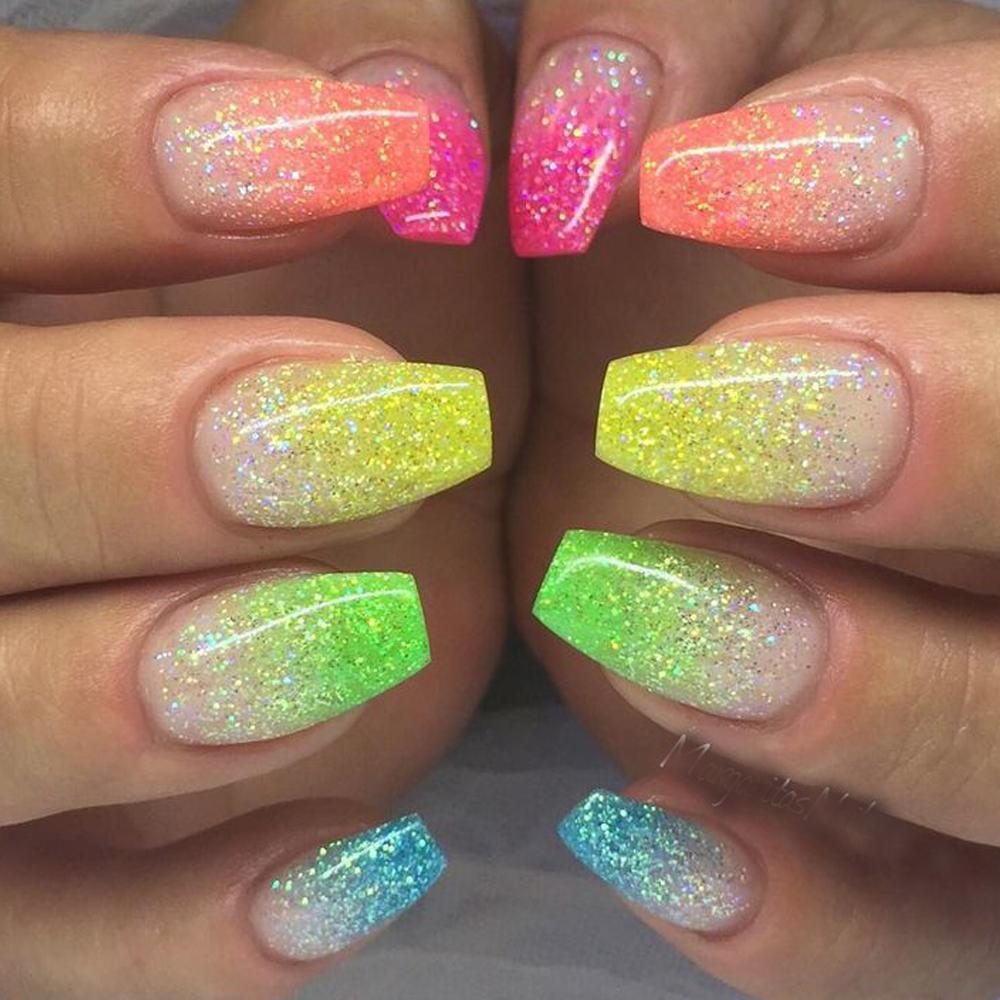1g 6 Renk Güzellik Glitter 3d Glow Nail Art Floresan Işık Neon Toz, Tırnak Süslemeleri Sayg01-06 için