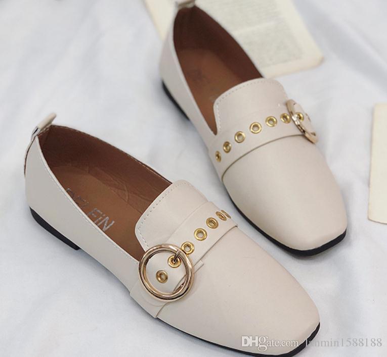2019 Chaussures femmes au printemps et à l'automne à fond plat Nouveau style à tête carrée @ 2067