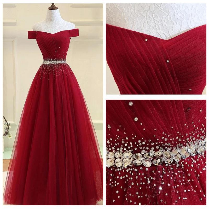 Elegante fuera de los hombros Borgoña Una línea de vestidos de noche barato más el tamaño de los cristales de partida de longitud formal vestidos de noche vestido de festa