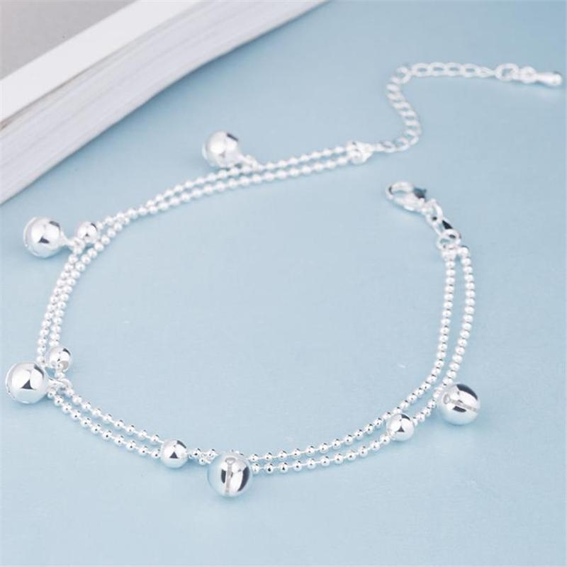 ONEVAN New Fashion 925 Sterling Silver Beads Chain Anklets Beach Party Cute Boll Ankle Bracelets For Women Foot Jewelry Gifts