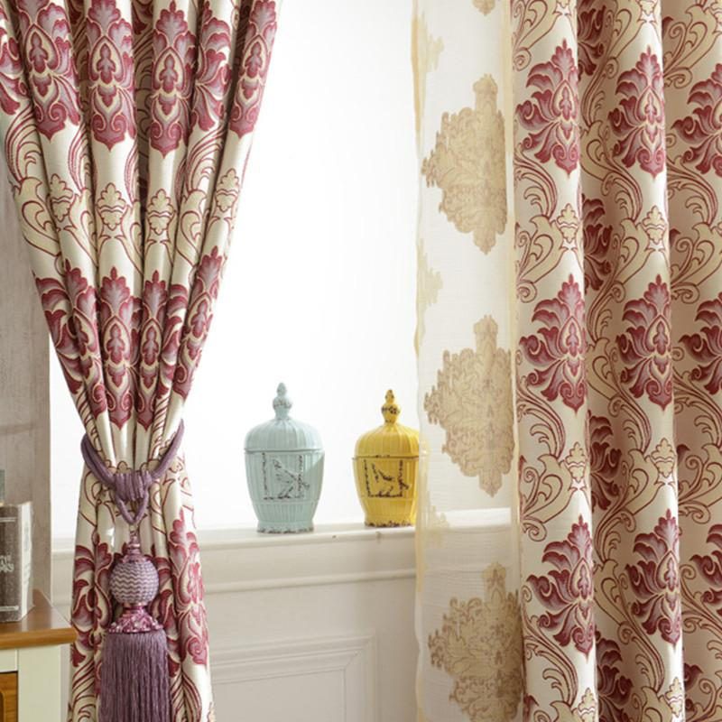 Venta directa del fabricante engrosada cortina Jacquard Europea cortinas de tela para sala de estar dormitorio