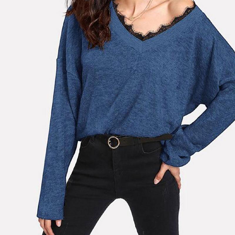 Женские свитеры свитер осень зима V-образным вырезом кружева шить свободный с длинным рукавом летучая мышь сплошной цвет пуловер вязаный верх