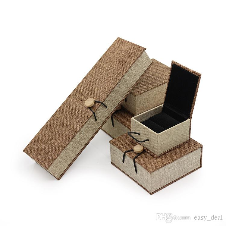 Toile de lin Bijoux Collier Bague Case Décoration Boîte à bijoux boîte-cadeau de mariage cadeau d'anniversaire cas yq00627