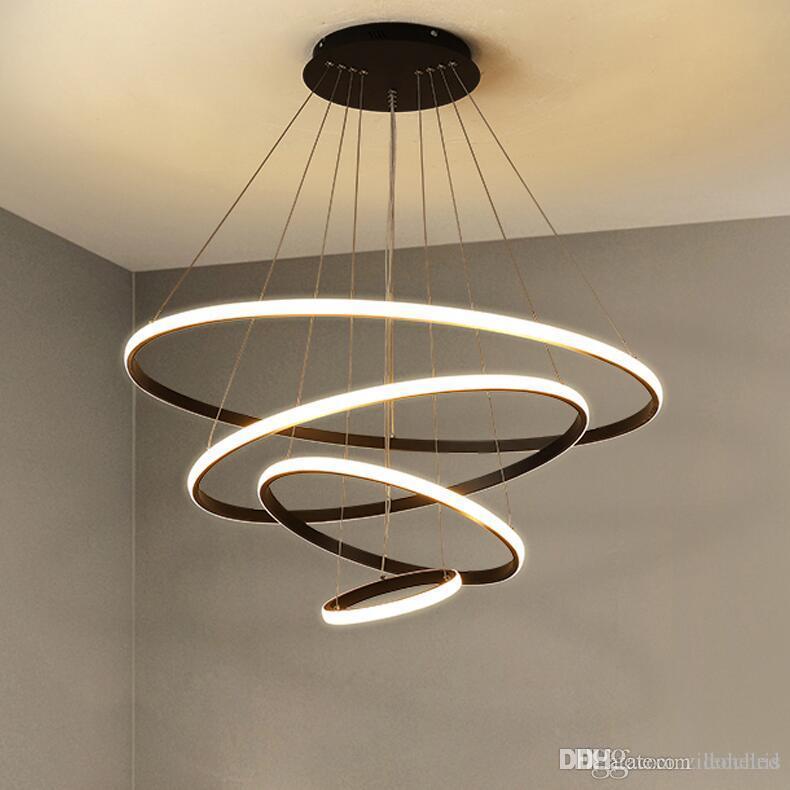 Modern Aluminum Circle LED Pendant Lights For Bedroom Living Room Dining Room Kitchen Minimalist White&Black&Coffee&Golden Body
