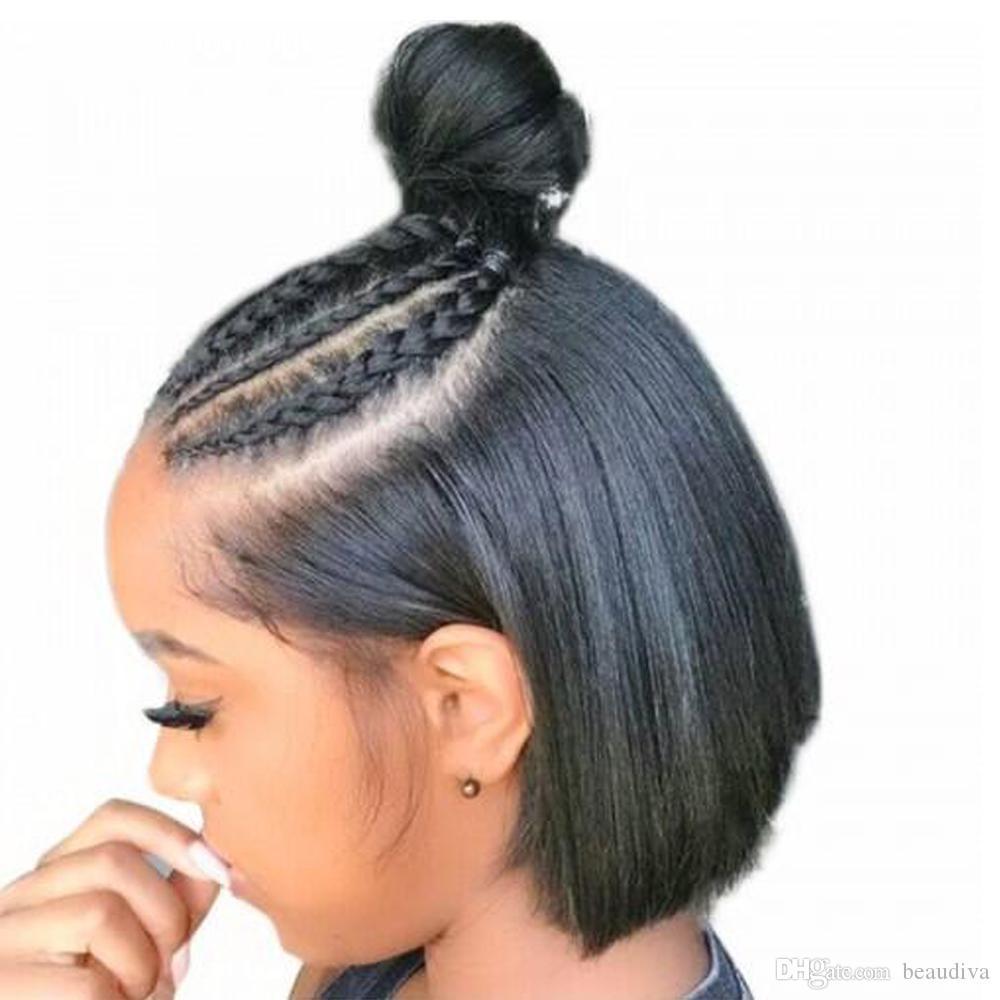 Bob Lace Front pelucas de cabello humano con cabello de bebé pre arrancado brasileño Remy Hair Full End Straight Short Bob peluca para mujeres negras