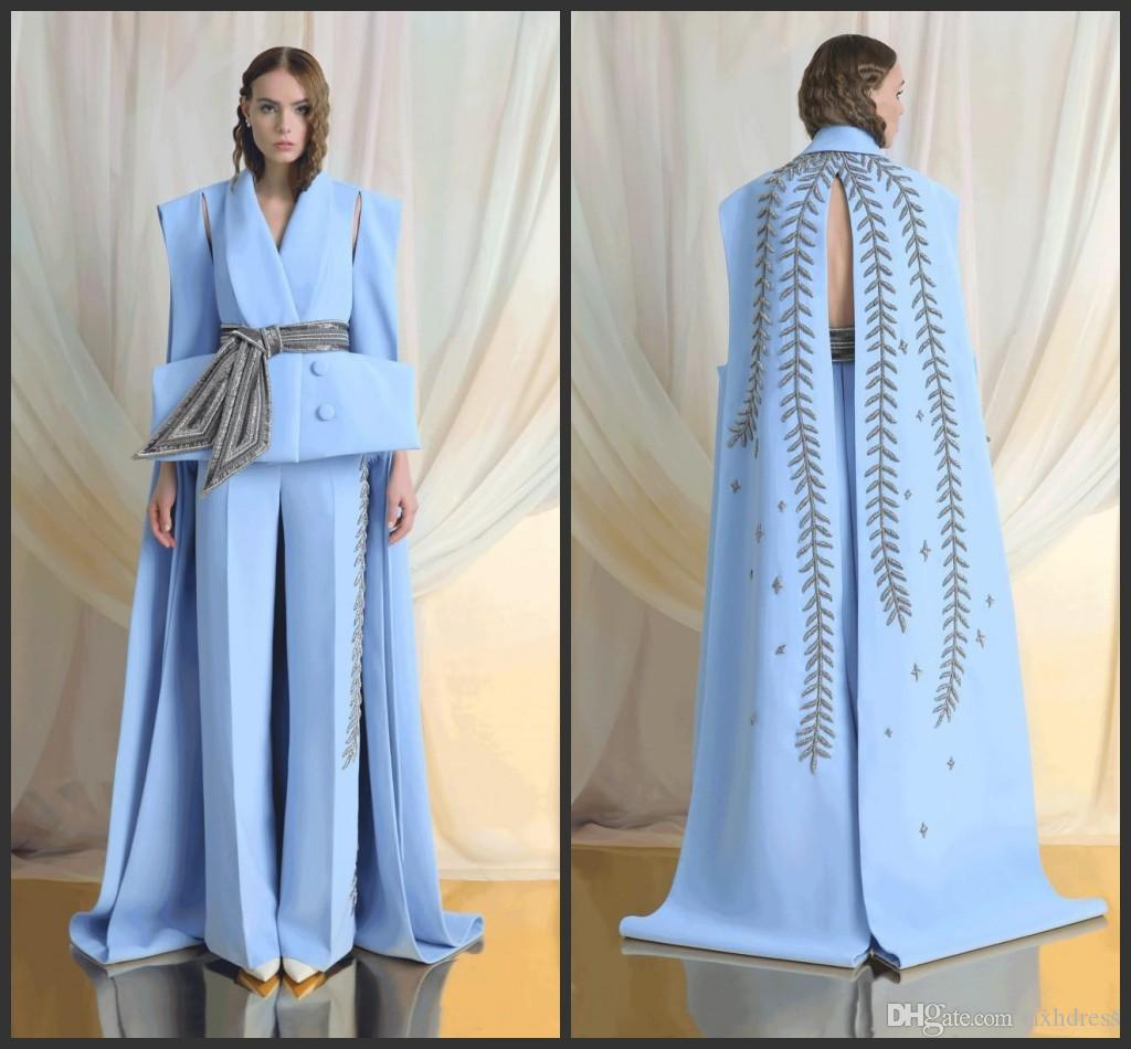 2019 New Prom Dresses Sky Blue Embroidery Jumpsuits Formal Evening Gowns Long Sweep Train Special Cut Pageant Party Dress Custom