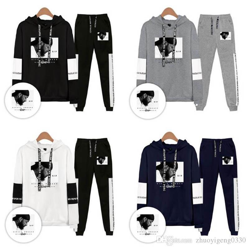 Hip Hop Men Casual Set 2019 Nipsey Hussle Men/Women Hoodies Sweatshirts And Sweatpants Hot Sale Cool Couple Hooded Two Piece Suit