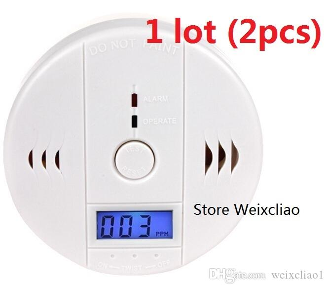 2pcs 1 lot With Batteries CO Carbon Monoxide Alarm Detector Poisonous Gas Smoke Sensor Home Use Easy To Install Sound LCD Free Shipping