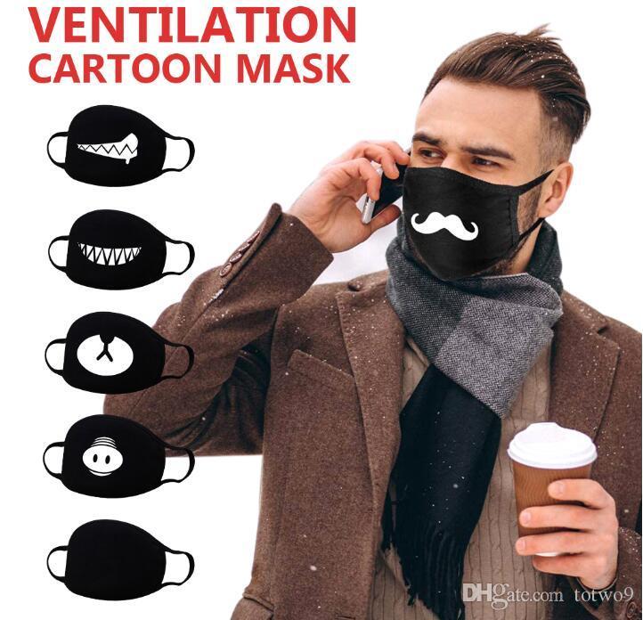 Mode Anti-Staub-Baumwolle Mund Gesichtsmaske Schwarz Cartoon-Expressionsmuster Boutique Maske Unisex Gesundheit Radfahren Respirator