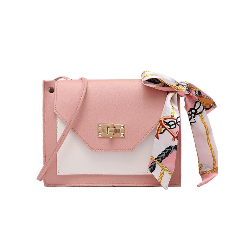 2020-coreano estilo fresco cor contrastante Bloqueio lenço de seda quadrado pequeno saco Primavera eo Messenger New Verão Bolsa de Ombro Telefone