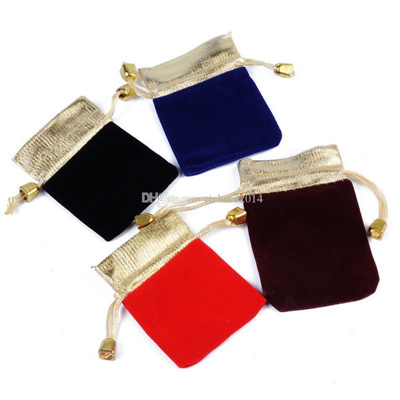 Wholeslae 50pcs / lot Gioielli Rosso Nero Borse sacchetti di velluto regalo di nozze favori di pendente della collana del braccialetto dell'anello bagagli coulisse Pouch