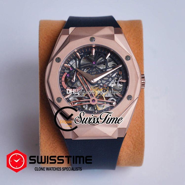 Sale Automatic Tourbillon Mens Watch Rose Gold Black Skeleton Dial Black Rubber Strap Watches SwissTime HUBG36a1