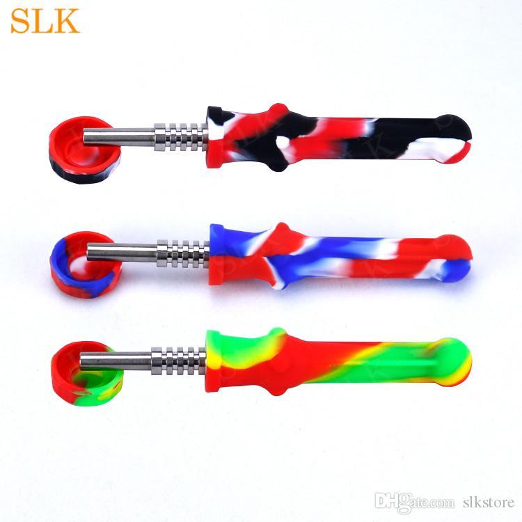 원래 디자인 실리콘 striaght 연기 파이프 소량 밀짚 키트 유리 오일 버너 파이프 소량 밀짚 오일 장비 다채로운 흡연 봉을, 실리콘