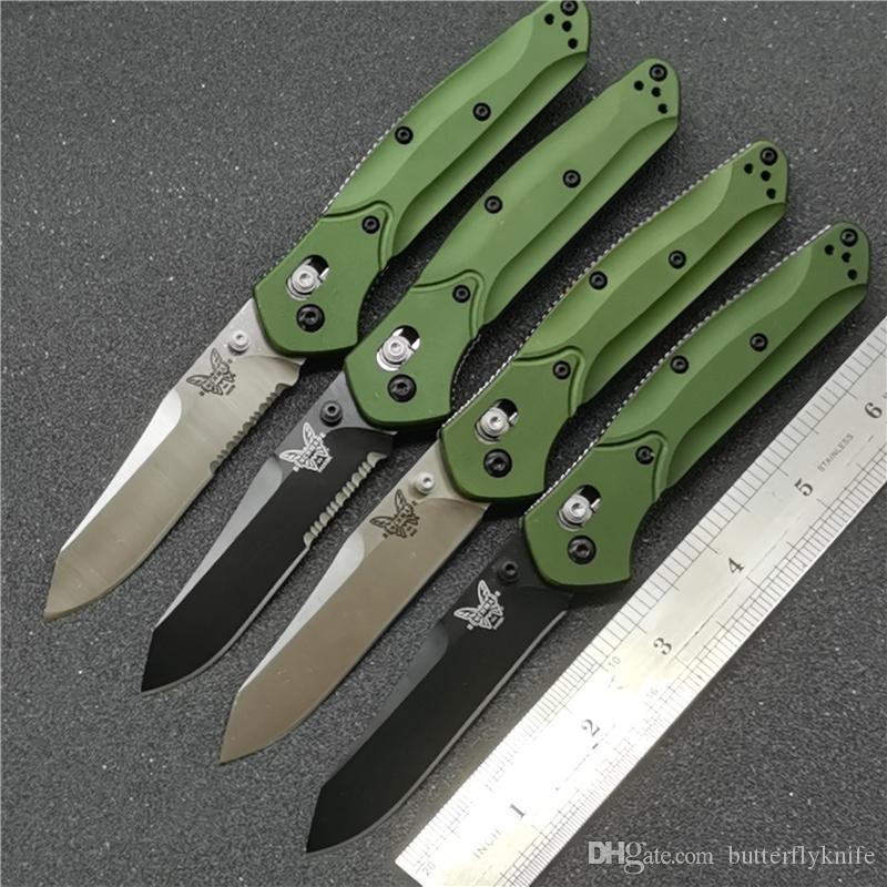 """Benchmade BM940 BM 940-S Osborne coltello pieghevole 3.4"""" S30V raso Plain Blade, Viola anodizzato Spacer titanio, maniglie verdi di alluminio bm coltello"""