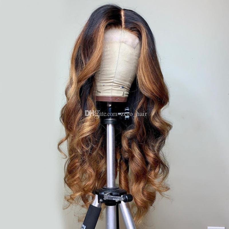 Объемная волна фронта шнурка париков Two Tone Ombre Highlight волна малазийский Девы человеческих волос полные парики шнурка для черной женщины