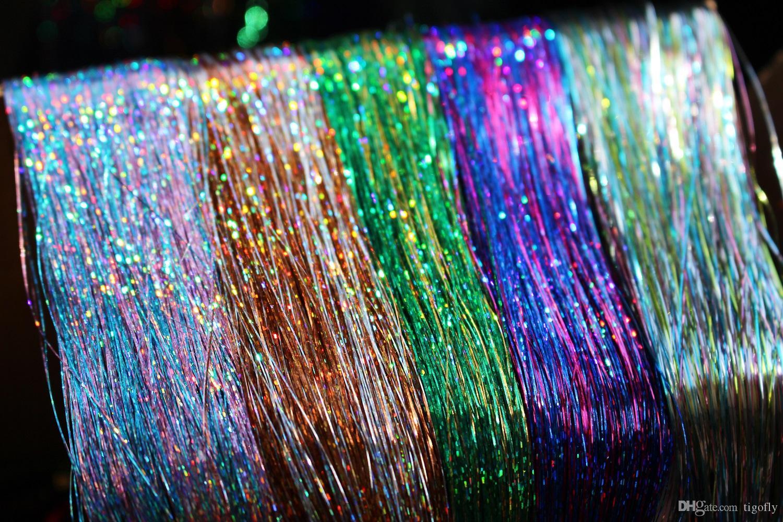 Tigofly 5 пакеты/много смешанных цветов 0.3 мм голографический Flashabou мишура телевизор с лавсановой Кристалл Флэш-трубки форели нахлыстом связывая материалы