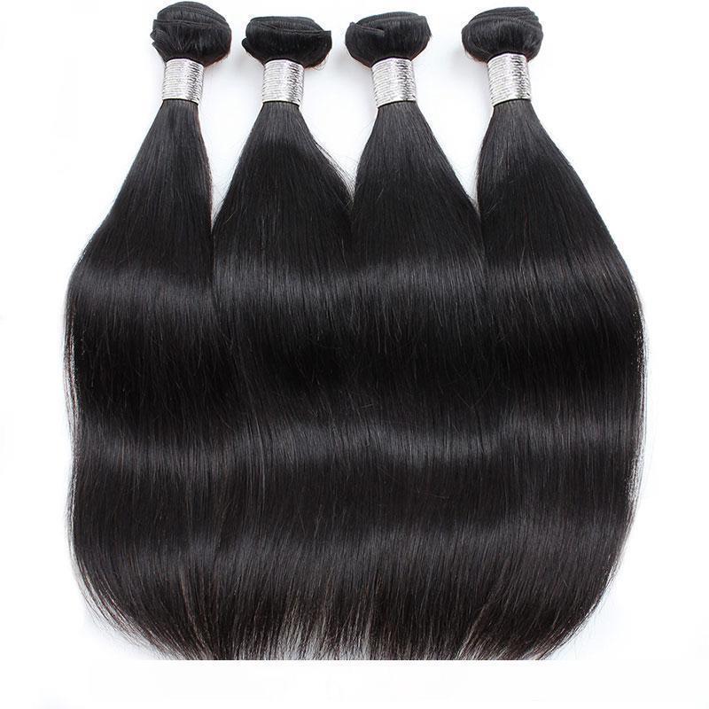 H Brezilyalı Düz Saç Paketler ile 4x4 Dantel Kapatma Malezya Hint Perulu Düz Virgin Saç Sınıf 10a Brazillian Saç Closur