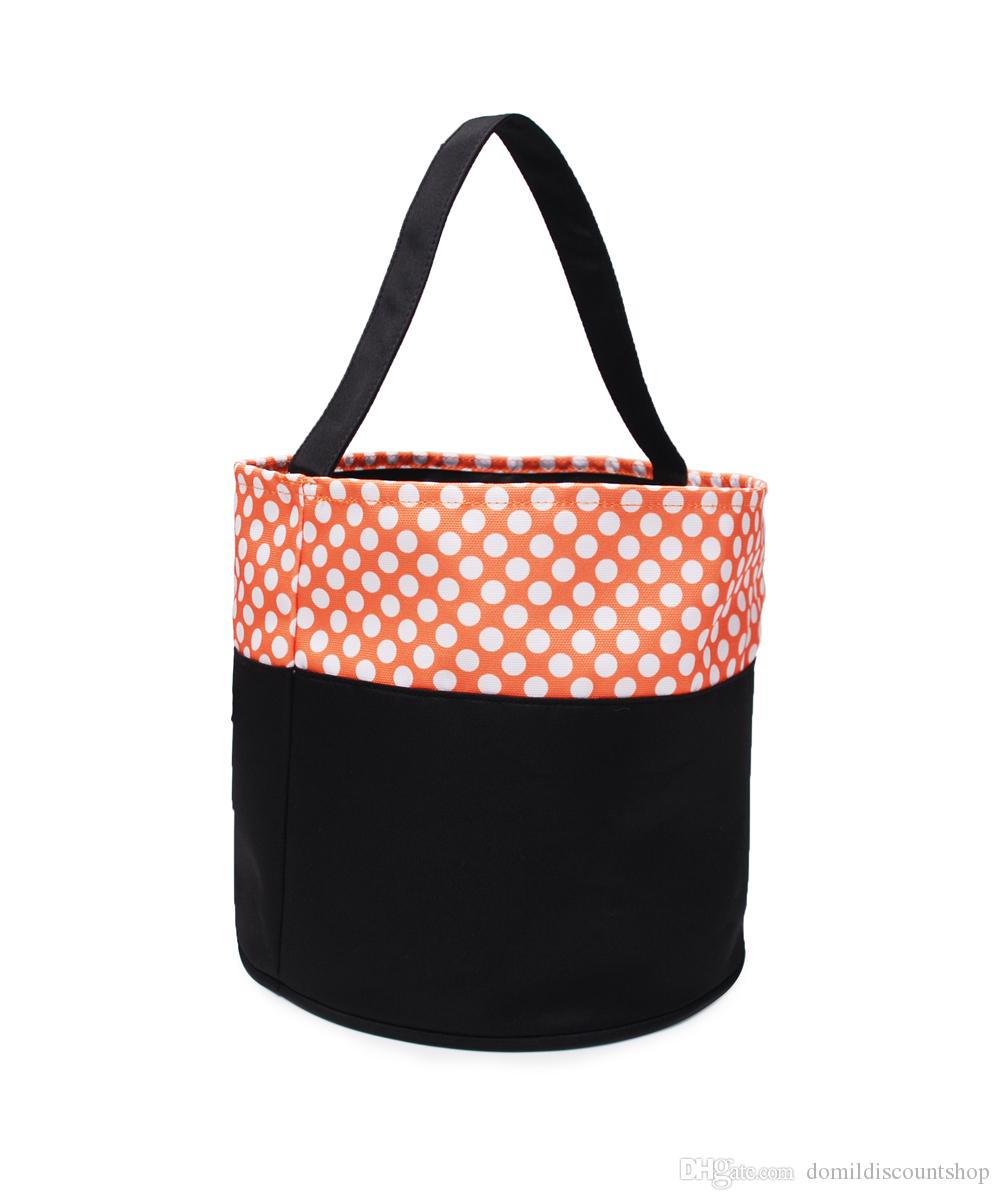 New Monogrammable Halloween Buckets Wholesale Blanks Personalize Halloween Tote Bag Plaid Halloween Candy Trick or Treat Baskets bag DOM1352