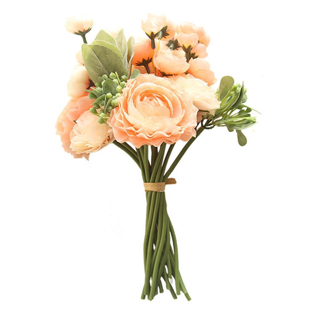 Beflockung Blatt Land Lotus Bündel künstliche Blume Hauptdekoration Hochzeit halte Straße, die Wand stieg künstliche Blumen Bouquet