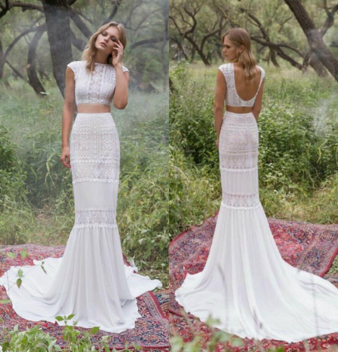 Zwei Stücke Brautkleider Spitze-Stickerei-Juwel Ansatz Kappen-Hülsen-Nixe-Hochzeits-Kleid Sweep Zug Backless Plus Size Robe De Mariee