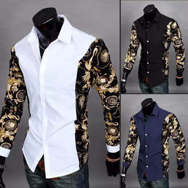 Wholesale- New 2018 Black And Gold Dress Shirts Baroque Printed White Shirt Men Summer Outfits Camisas Slim Fit Chemise Cheap Clothes China