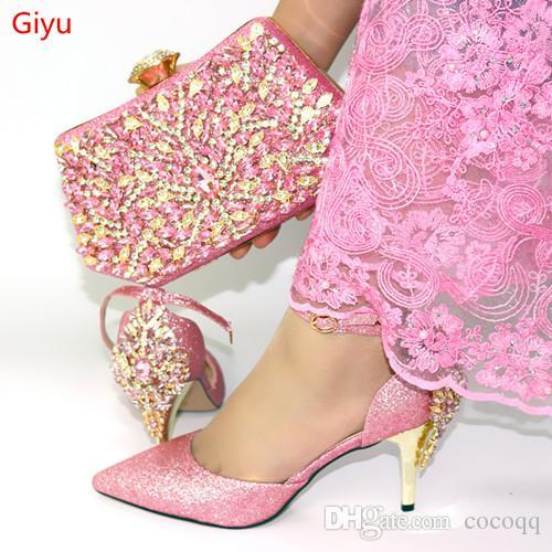 Новая розового цвет Итальянская обувь с совпадающими Сумками африканских женщин обувью и сумкой Набором для выпускного вечера партии Летнего Сандала! BO1-13