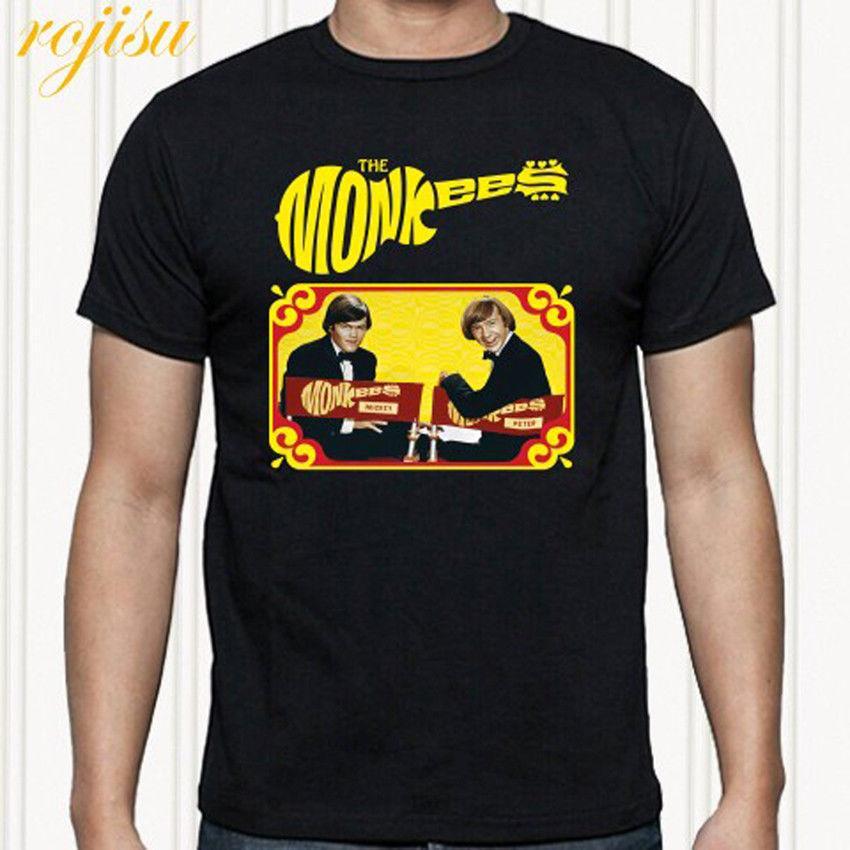 The Monkees Logo Custom Black T-shirt USA Size Men/'s