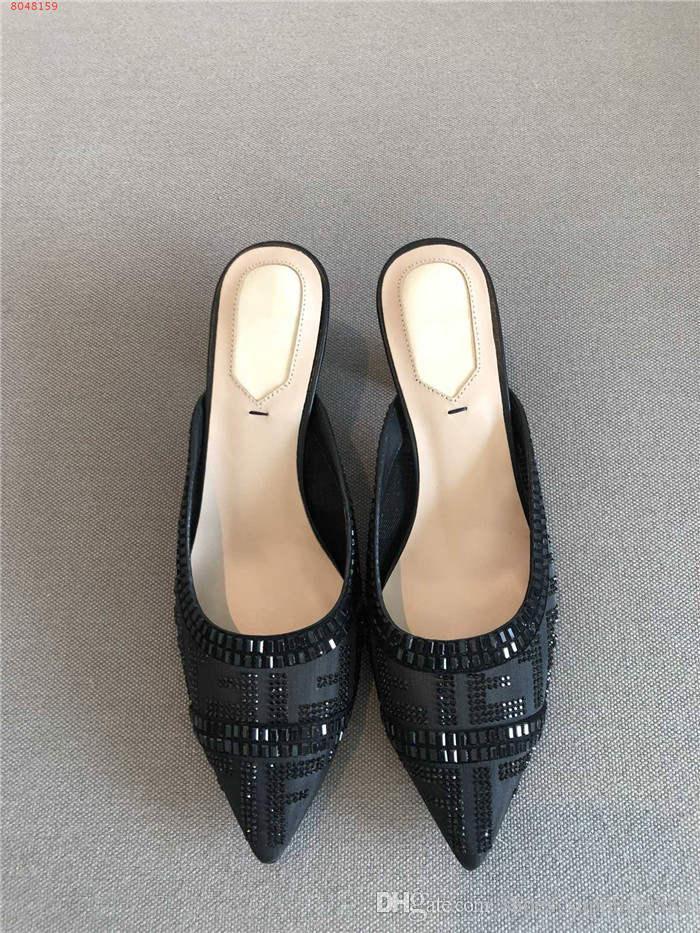 Para mujer de malla transpirable sandalias de tacón gato, perlas de diamantes con incrustaciones de agua mediados de tacón medio delicadas - zapatillas de arrastre con cuadro