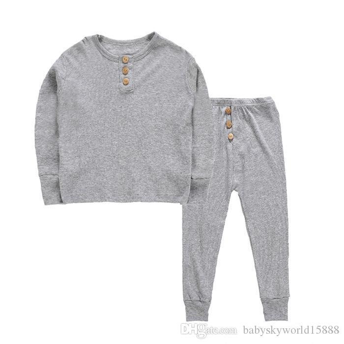b661f4416e4f4 ... Pyjama bébé enfants filles vêtements garçon dors bien solide costume à  manches longues Tops pantalon tenues ...