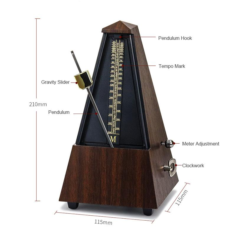 Vintage Tower Type Guitar Metronome Bell Ring Rhythm Mechanical Pendulum Mini Metronome for Guitar Bass Piano Violin Accessories