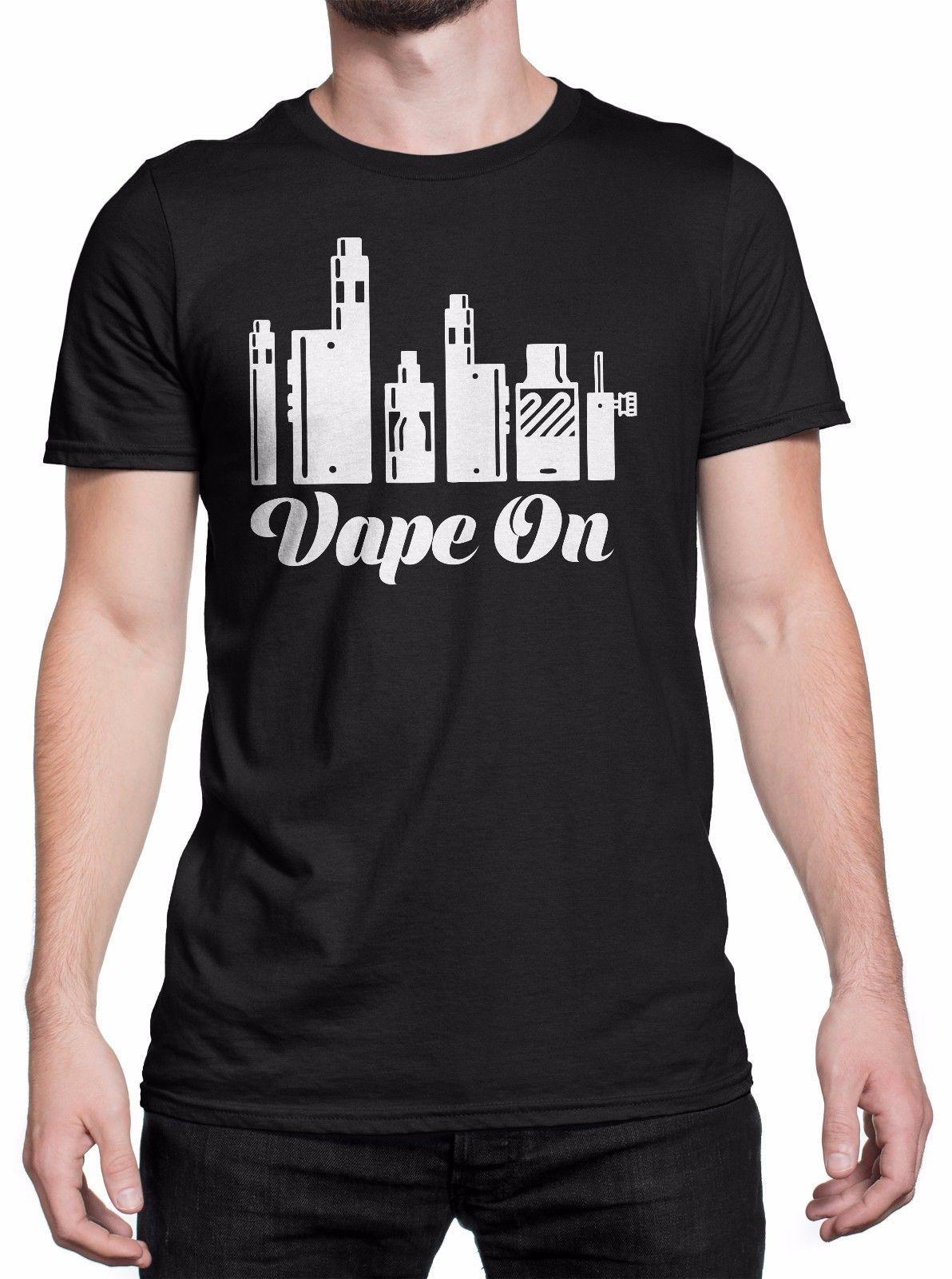 "Camiseta Uomo ""Vape On"" Estampado blanco - Maglietta 100% Cotone - Nero Men Brand Clothihng Moda de calidad superior Camiseta para hombre 100%"
