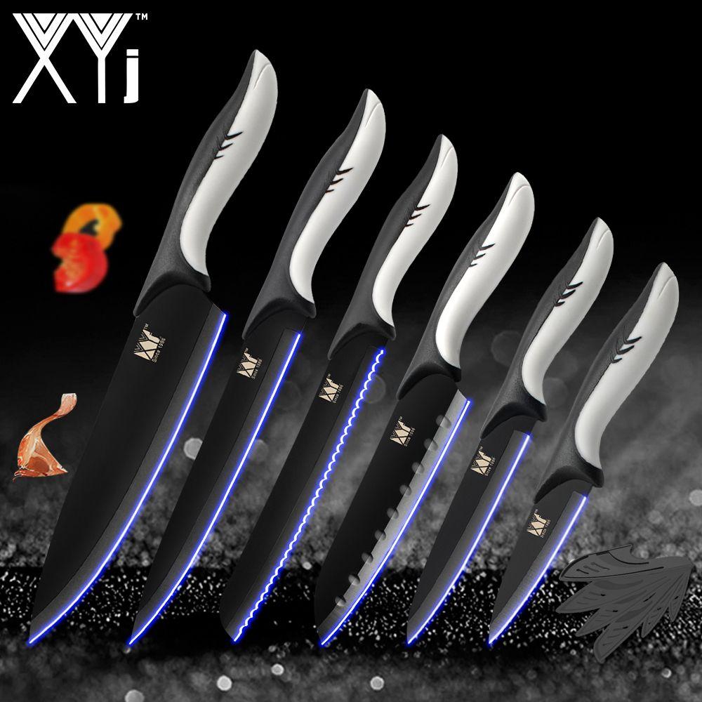 6pcs / set de cuisine Couteaux de cuisine en acier inoxydable Outils Utilitaire lame noire à éplucher Santoku Chef de pain Accessoires de cuisine Slicing Outils