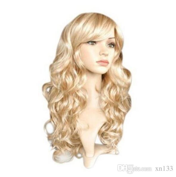 Lange lockige Frauen Damen Party Natrual Blonde 65 cm Kunsthaarperücken