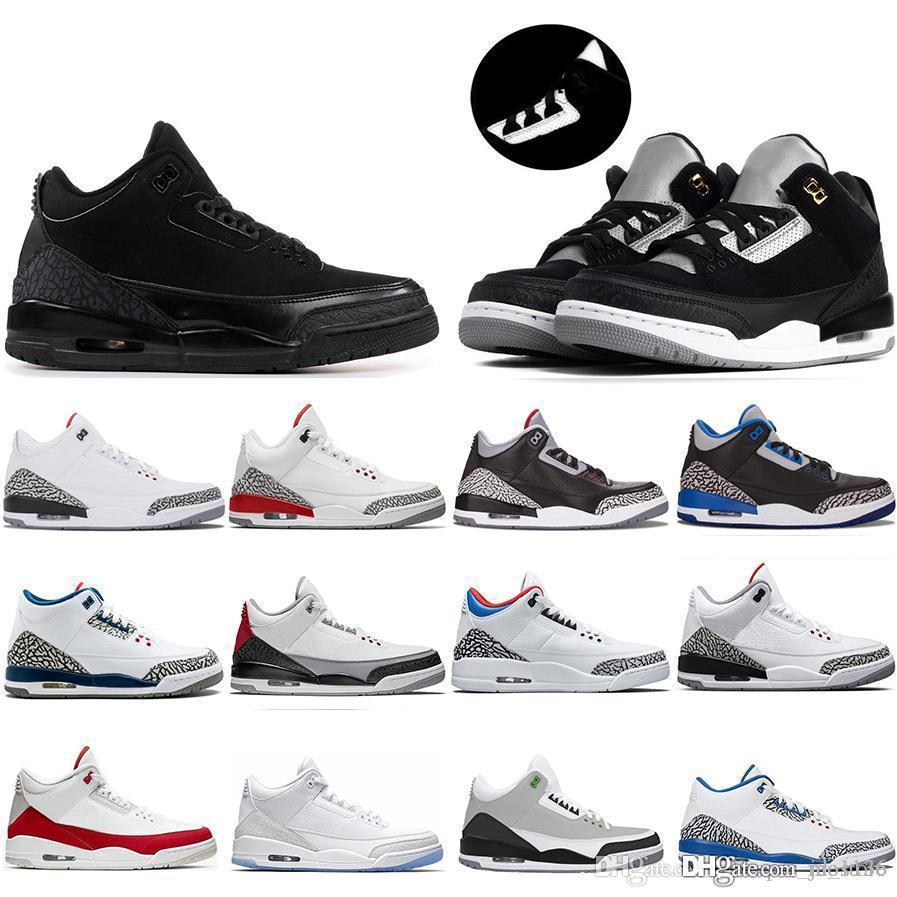 Più economico New Black Cemento Tinker 3 UNC Jumpman 3s Scarpe III pallacanestro NRG Mocha Katrina Knicks Rivals 3M riflettenti Mens Sneaker Sneakers