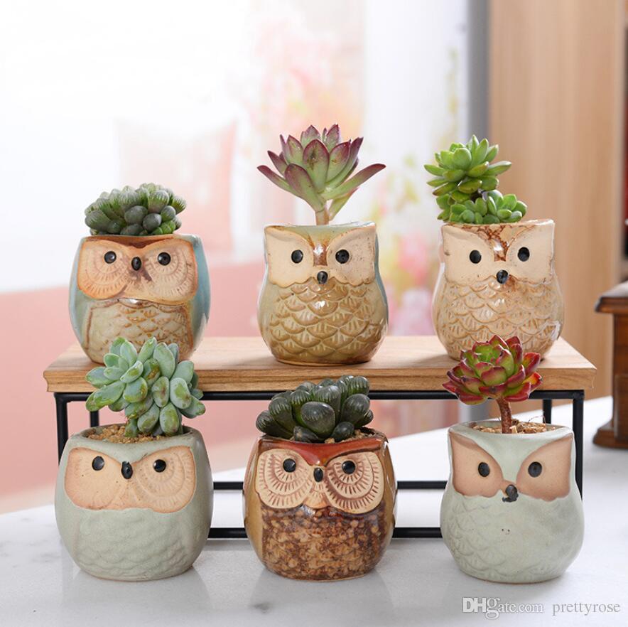 Em Forma De Coruja Dos Desenhos Animados Flor Pote para Suculentas Plantas Carnudas Vaso De Cerâmica Pequeno Mini Casa / Jardim / Office Decor 6 Estilo Escolher