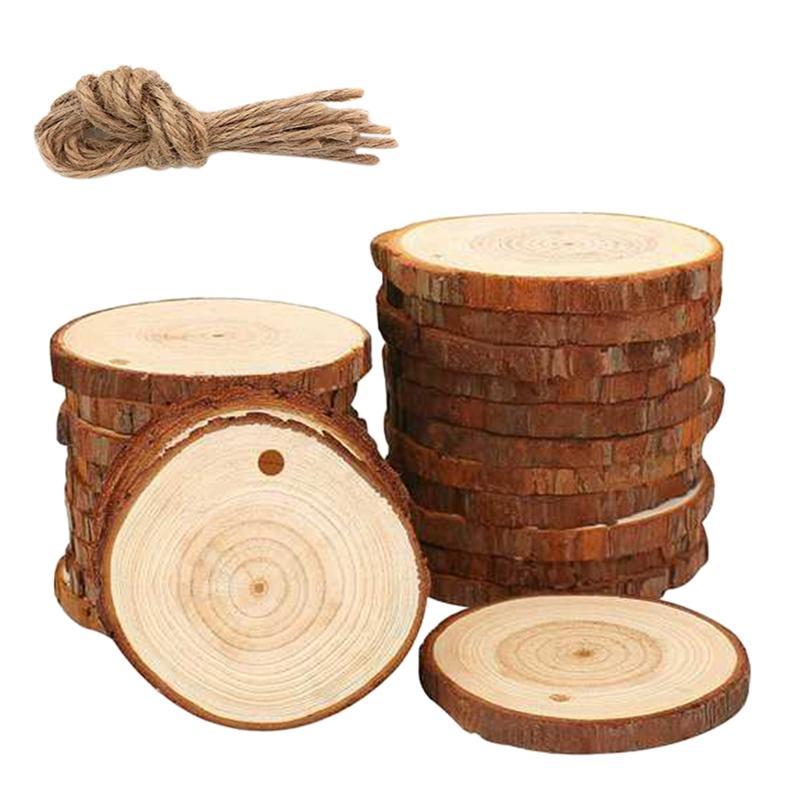 50Pcs Craft tranches Bois naturel Bois Kit Unfinished prépercé avec trou cercles en bois grand pour les arts et l'artisanat de Noël Orna