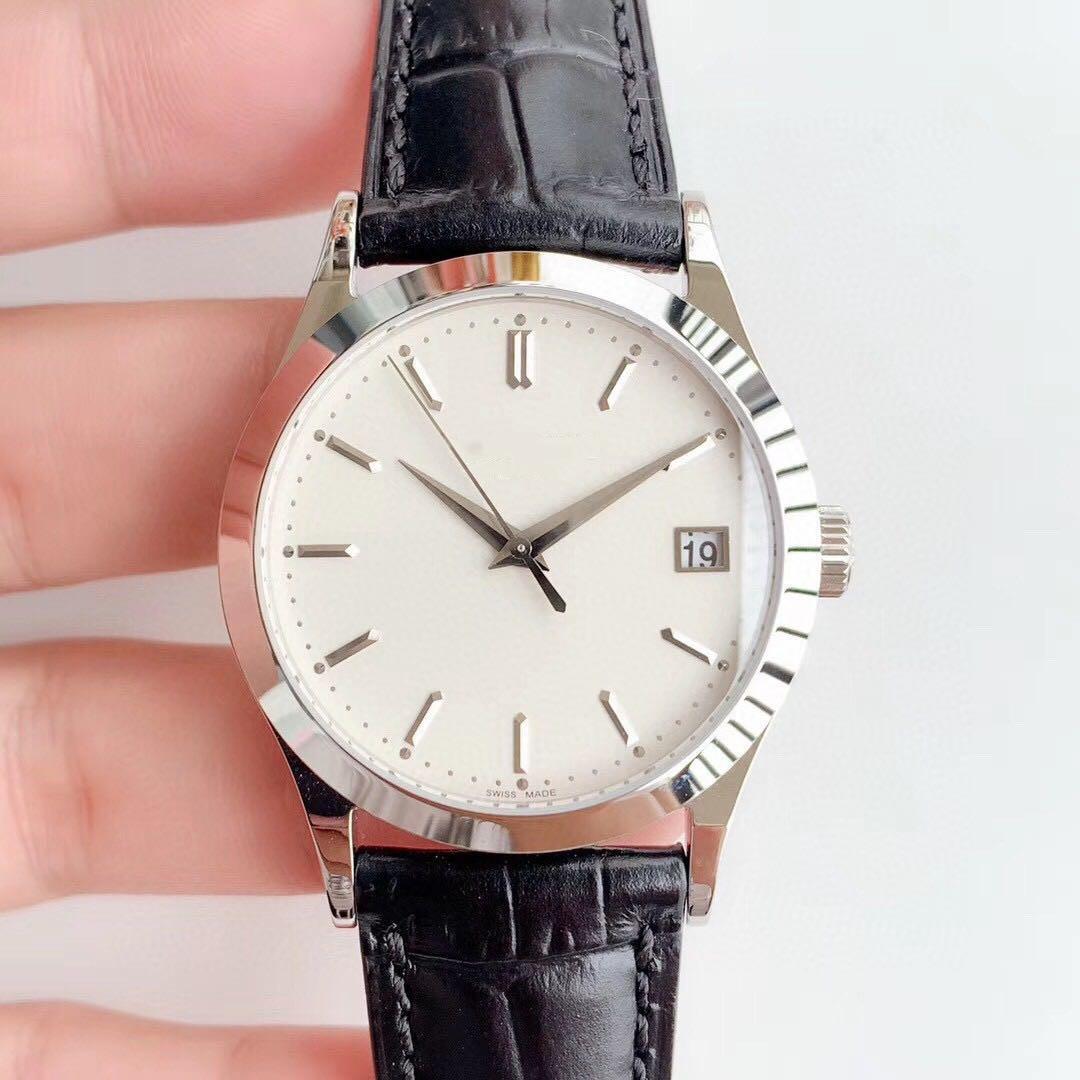saat kayışı safir kristal cam mükemmel pr Dana derisi ZF fabrika klasik otomatik mekanik hareketi Cal.324SC izle 39mm platin durum