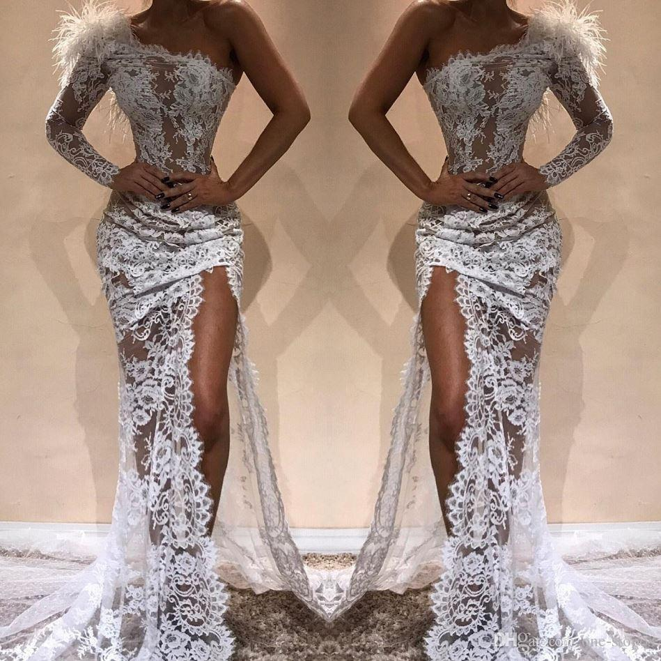 Champagne Full Lace Prom Dress Side Slit Sexy Evening Dress Feather Sheer Lace Party Mermiad Dresses Custom Made Promdresses Short Prom Dress From One