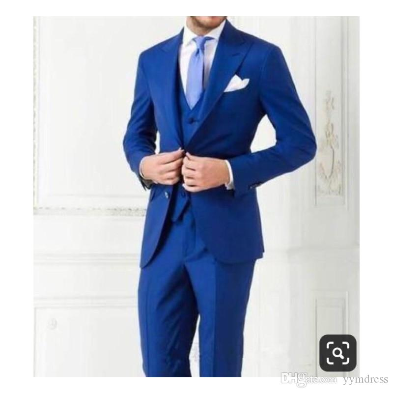 Royal Blue Groom Tuxedos Two Buttons Peaked Lapel Groomsmen Best Man Suits Mens Wedding Suits Business Suits (Jacket+Pants+Vest+Tie)