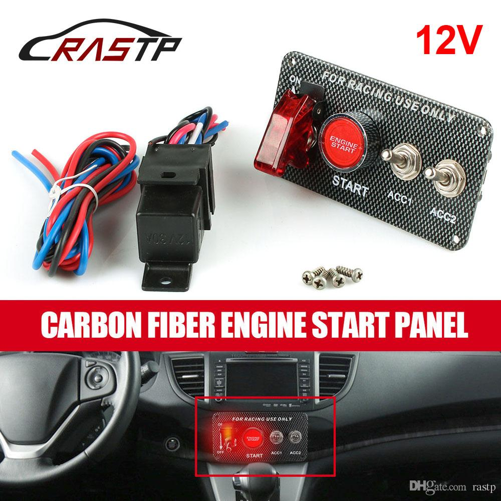 Switch Panel Engine Start Button LED Toggle Carbon Racing12V Ignition For Auto