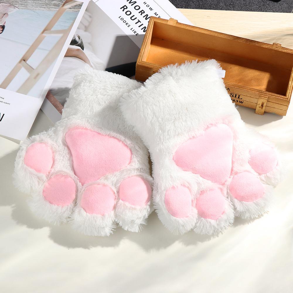 1 пара женщин Девушки милый кот котенок Лапа Коготь теплые перчатки мягкие Аниме косплей плюшевые для Хэллоуин аксессуары Y191113